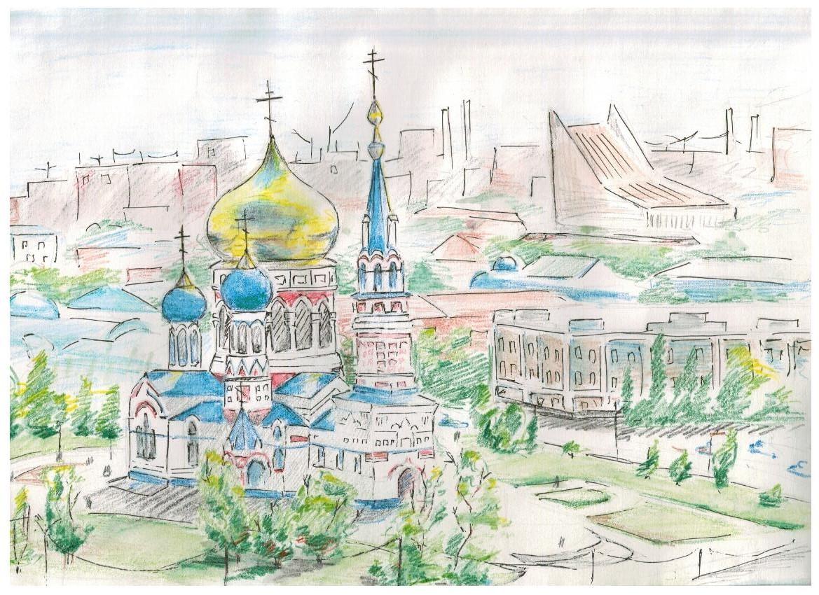 Омск в картинках карандашом, февраля