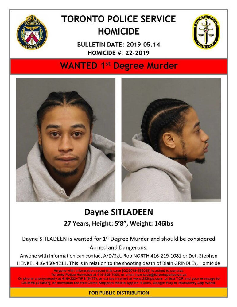 Dayne Sitladeen wanted in Connection with a Toronto Murder