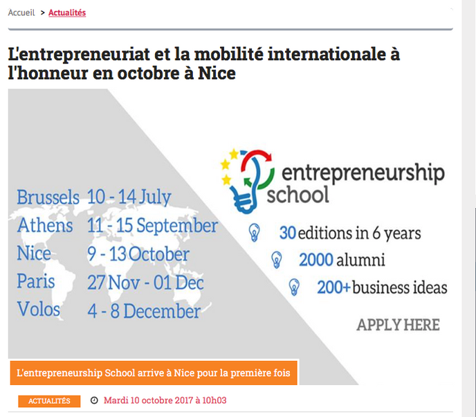 L'entrepreneuriat et la mobilité internationale à l'honneur en octobre à Nice