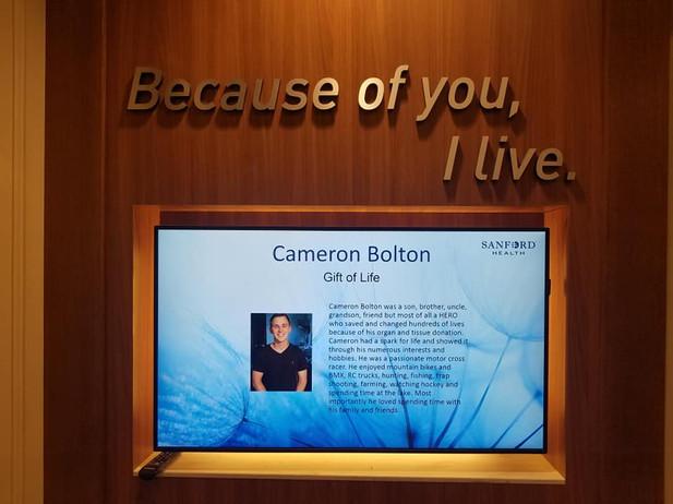 Cameron on Sanfords Organ Donor Memorial Board