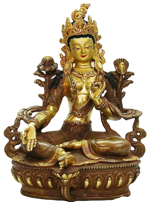 Authentic Green Tara Statue 12 Inches with Face Gold Gilded