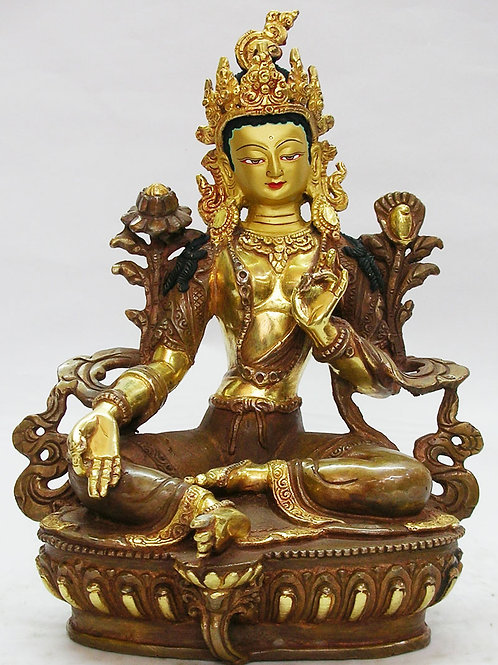 Authentic Green Tara Statue 8.5 Inches with Face Gold Gilded