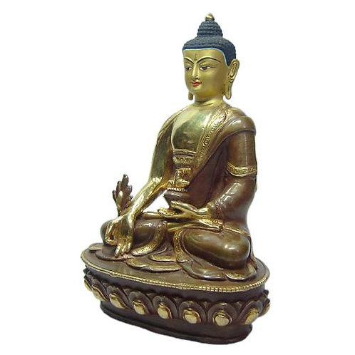 Authentic Medicine Buddha 8.5 Inches with Face Gold Gilded