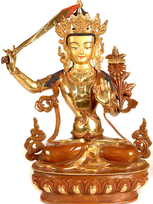 Manjushri - The Bodhisattva 12 Inches with Face Gold Gilded