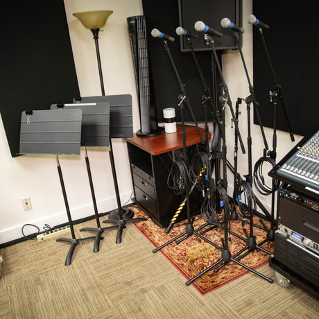 Mixer, mics, and music stands