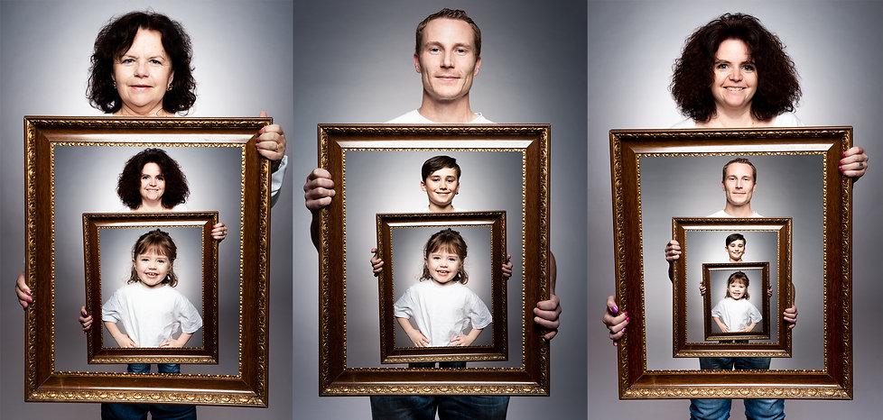 Familien Fotoshooting kreativ Foto Fotografie Fotograf Fotoshooting Studio Berger Roger Photography Einsiedeln Schwyz Rapperswil Zürich Zug Bilderrahmen Erinnerungen Generationen