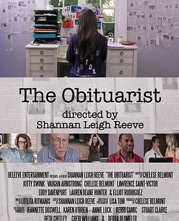 Film poster for the obituarist with a girl sitting at a desk surrounded by newspaper clippings
