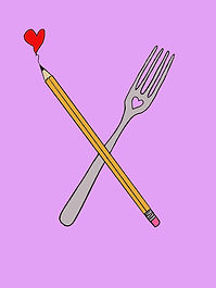 A pencil with a heart at the end crossing a fork with a heart in its design on a pink background