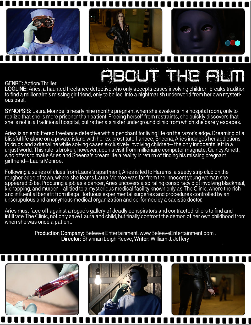Black text on white background explaining the film. Images of people in masks and with medical equip