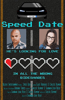 The Speed Date Poster with a man and woman and four empty hearts, and one half full