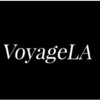 White text on a black background that says Voyage LA