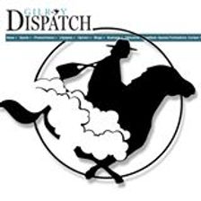 The gilroy dispatch logo with a man on a racing horse in black on a white background