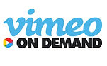 Vimeo on Demand logo with blue and black font and the vimeo play arrow logo