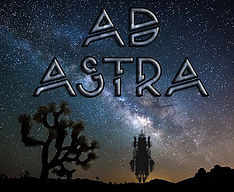 Ad Astra image with the milky way in the background, and a joshua tree and a spaceship in foreground