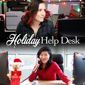 Holiday Help Desk poster with two images vertically placed with two women smiling