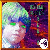 A boy with neon green eyes on a purple and red background with word Inspirado Projecto Radio.