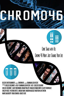 Chromo 46 poster with a DNA strand with cast photos and images of test tubes