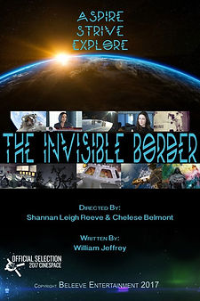 Invisible Border poster with the earth from space and photos from the film