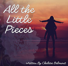 All the Little PIeces poster with a woman on a man's back in front of a sunset. Flowers behind title