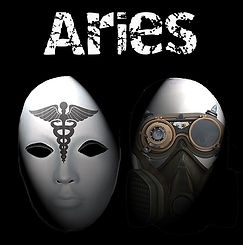 The Aries poster with two full face masks below the title.
