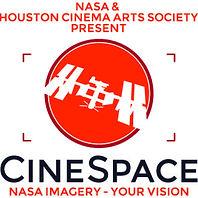 Logo for Nasa /Houston Cinema Arts Society Cinespace Competition. An orange circle & white satellite