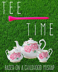 A green grass background with a teapot, cream, and sugar containers. A golf tee separates the title