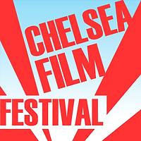 Chelsea Film Festival logo with red text and light blue background