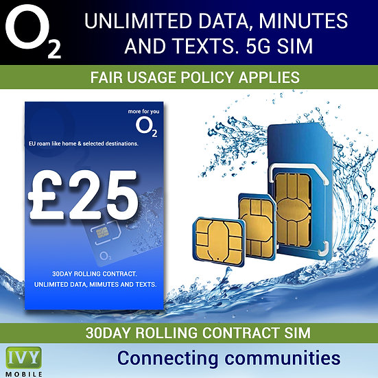 Unlimited Data, Minutes and Texts, O2, 5G Sim card