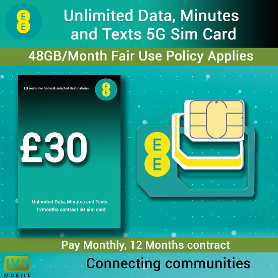 EE Unlimited Data, Minutes and Texts, Vodafone 5G Sim only