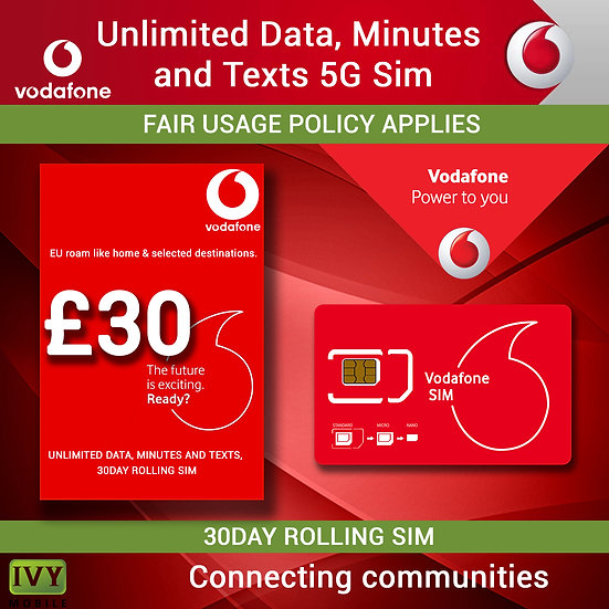 Unlimited Data, Minutes and Texts, Vodafone 5G Sim only