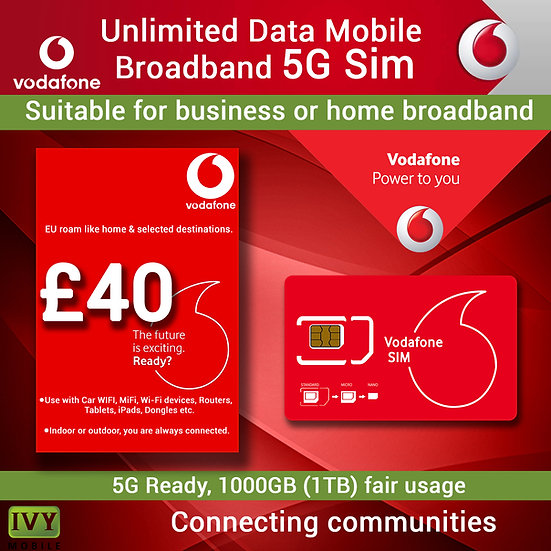 Unlimited Data, Mobile Broadband, 4G, 5G pay monthly Sim only.