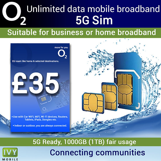 Unlimited Data Mobile Broadband, 5G sim only, monthly rolling contract