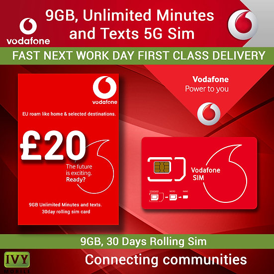 Vodafone 9GB, Unlimited Minutes and Unlimited Texts,  5G Sim