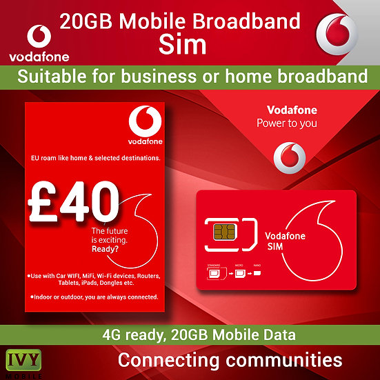 20GB Vodafone or O2, Mobile Broadband, sim card