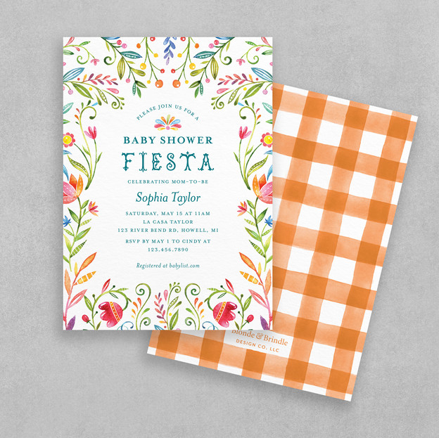 Fiesta baby shower invitation with vibrant colorful flowers