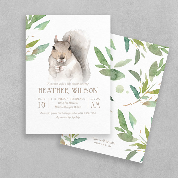 woodland greenery baby shower invitation