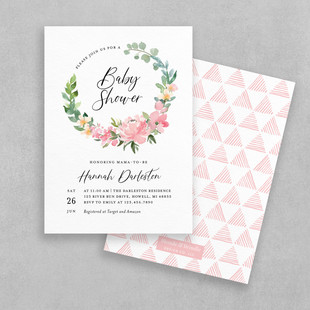 pink floral baby shower invitation
