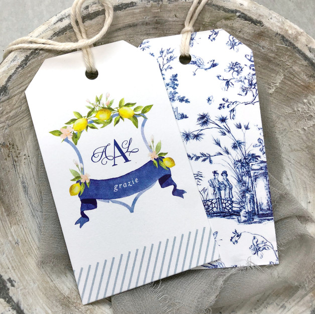 Lemons and chinoiserie favor tags