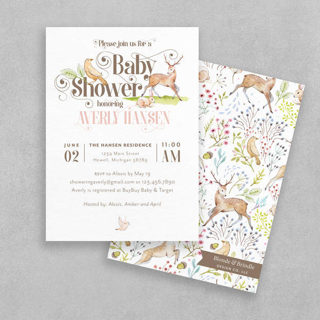 woodland girl baby shower invitation