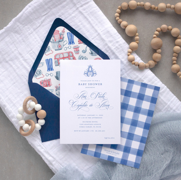 Paddington bear themed baby shower invitation