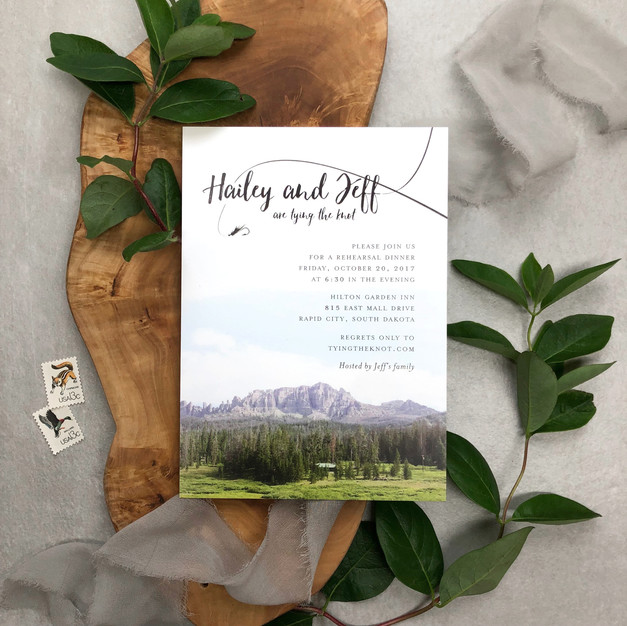fly fishing theme rehearsal dinner invitation