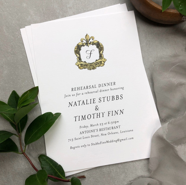 Custom new orleans rehearsal dinner invitation