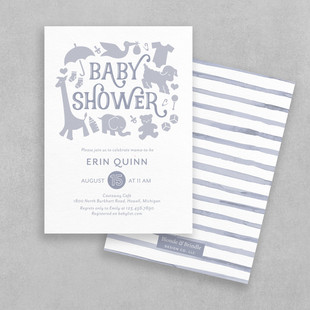 simple purple baby shower invitation for baby girl