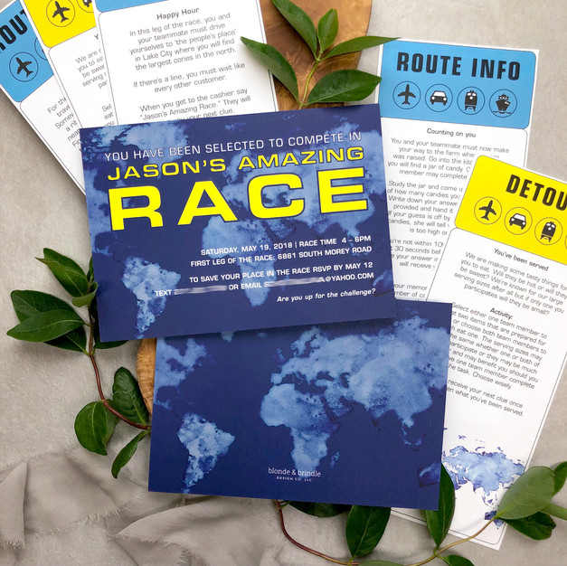 Amazing race themed birthday party invitations