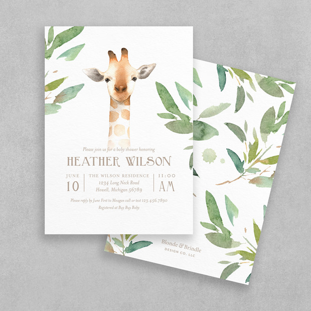 giraffee safari baby shower invitation