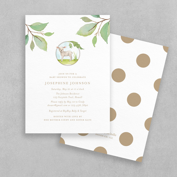 spring lamb baby shower invitation