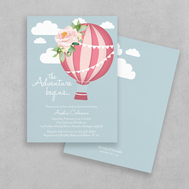 Adventure girl baby shower invitation
