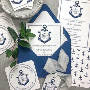 Custom nautical theme invitations with anchor