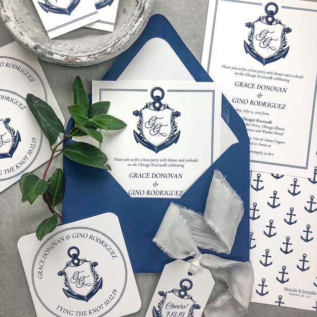 Custom nautical theme invitations with anchor