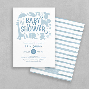 simple blue baby shower invitation for boy